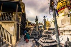 2014年8月19日-猴子寺庙在加德满都,尼泊尔 库存照片