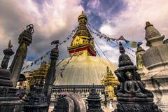 2014年8月19日-猴子寺庙Stupa在加德满都,尼泊尔 免版税库存图片