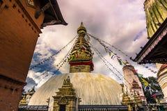 2014年8月19日-猴子寺庙Stupa在加德满都,尼泊尔 库存图片