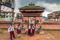2014年8月18日-孩子在Bhaktapur,尼泊尔 免版税库存照片