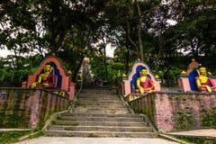 2014年8月19日-对猴子寺庙的入口在加德满都, Ne 免版税图库摄影