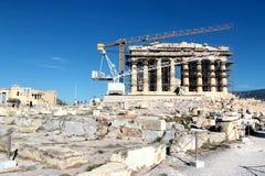10月2017 15日-建设中帕台农神庙寺庙,上城,雅典,希腊 库存照片