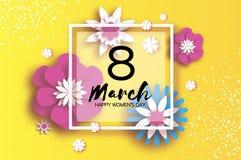 3月8日 愉快的妇女` s母亲` s天 蓝色卡片设计花卉问候 纸刻花 Origami花 方形框架 文本 八 免版税库存照片
