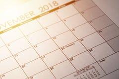 11月22日 感恩在美国2018年在选择聚焦在日历 被定调子的图象 免版税库存照片