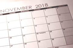 11月22日 感恩在美国2018年在选择聚焦在日历 免版税库存照片