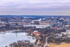 2017年2月11日-斯德哥尔摩,瑞典都市风景的全景  库存照片