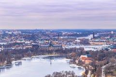 2017年2月11日-斯德哥尔摩,瑞典都市风景的全景  库存图片