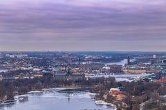 2017年2月11日-斯德哥尔摩, Swed都市风景的全景  库存图片