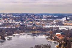 2017年2月11日-斯德哥尔摩, Swed都市风景的全景  免版税库存照片