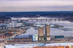 2017年2月11日-斯德哥尔摩, Swed都市风景的全景  免版税库存图片
