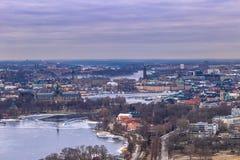 2017年2月11日-斯德哥尔摩, Swed都市风景的全景  免版税图库摄影