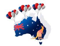 1月26日 澳洲气球日标志被设置的礼品图标 库存照片