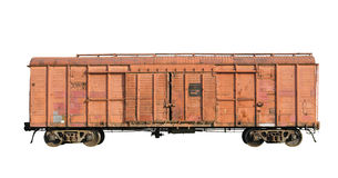 4月2009日货物老铁路乌克兰无盖货车 图库摄影
