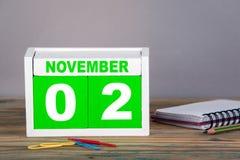 11月2日 特写镜头木日历 图库摄影