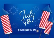 7月4日 美国美国独立日问候横幅 与习惯字法和烟花的现代布局迅速上升 免版税库存照片