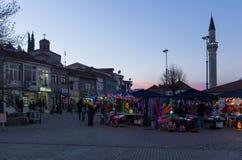 2015年12月12日-街道在奥赫里德镇  库存照片