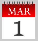 3月1日-首先3月-日历 免版税库存照片