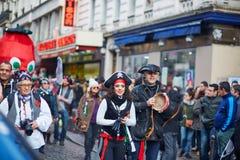 2016年2月7日-巴黎:传统2月狂欢节在巴黎,法国 库存照片