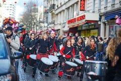 2016年2月7日-巴黎:传统2月狂欢节在巴黎,法国 图库摄影