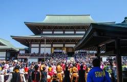 4月13日 2014年:在奈良寺庙的Taiko Matsuri 库存照片