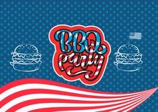 7月4日BBQ党对美国独立日烤肉的字法邀请与7月4日装饰星,旗子,汉堡  库存例证