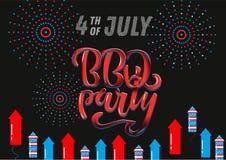 7月4日BBQ党对美国独立日烤肉的字法邀请与7月4日装饰星,旗子,烟花  库存例证