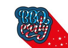 7月4日BBQ党对美国独立日烤肉的字法邀请与7月4日装饰星,旗子,烟花  皇族释放例证