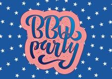 7月4日BBQ党对美国独立日烤肉的字法邀请与7月4日装饰星,旗子,烟花  向量例证