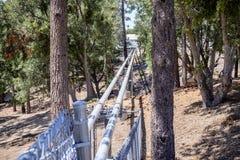 2018 6月9日Mt威尔逊/加州/美国-去中央设施,一部分的轮藻属列阵,Mt威尔逊的光导管(真空管) 库存照片
