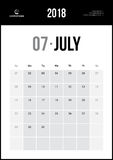 2018年7月 最低纲领派挂历 免版税图库摄影