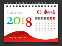2018年3月 桌面日历2018年 向量例证