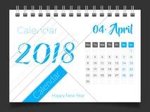 2018年4月 桌面日历2018年 库存例证