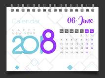 2018年6月 桌面日历2018年 皇族释放例证