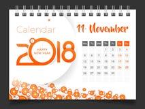 2018年11月 桌面日历2018年 库存例证