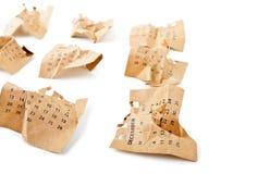 12月 被弄皱的日历页 免版税库存图片