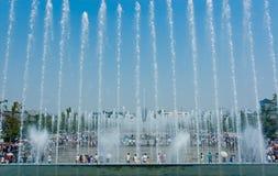西安,中国 8?17,2012 西安音乐喷泉有在XI陕西省中国的巨大狂放的鹅塔背景 免版税库存照片