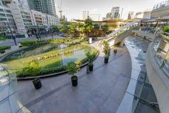 2月20,2018视图购物从二楼的镇购物中心,达义市市 库存照片