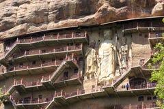 5月08 2017 麦积山山在Tiansui,甘肃,中国陷下 库存图片