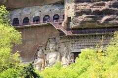 5月08 2017 麦积山山在Tiansui,甘肃,中国陷下 免版税图库摄影