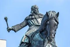 1月Zizka骑马雕象在Vitkov纪念品附近的 免版税图库摄影