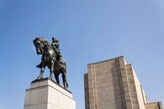 1月Zizka骑马雕象,全国纪念Vitkov,布拉格,捷克 免版税图库摄影