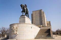 1月Zizka骑马雕象,全国纪念Vitkov,布拉格,捷克 库存图片