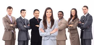 有一个不同种族的企业队的女商人 免版税库存照片