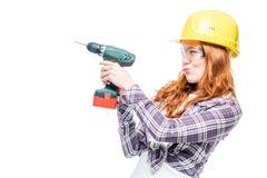 有一个人` s工具的易碎的女孩在白色背景 库存图片