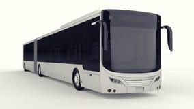 有一个另外的瘦长的零件的一辆大城市公共汽车大客运量的在人的高峰时间或运输时de的 皇族释放例证