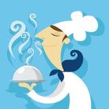 有一个可口盘的厨师 免版税库存照片