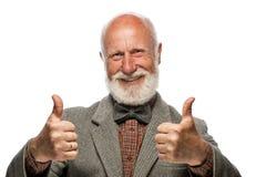 有一个大胡子和微笑的老人 免版税图库摄影