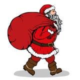有一个大袋子的圣诞老人礼物 库存图片