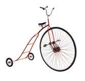有一个大轮子的葡萄酒自行车 免版税库存图片