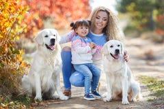 有一个小女孩和两条狗的一个年轻母亲在步行在公园在秋天 库存图片